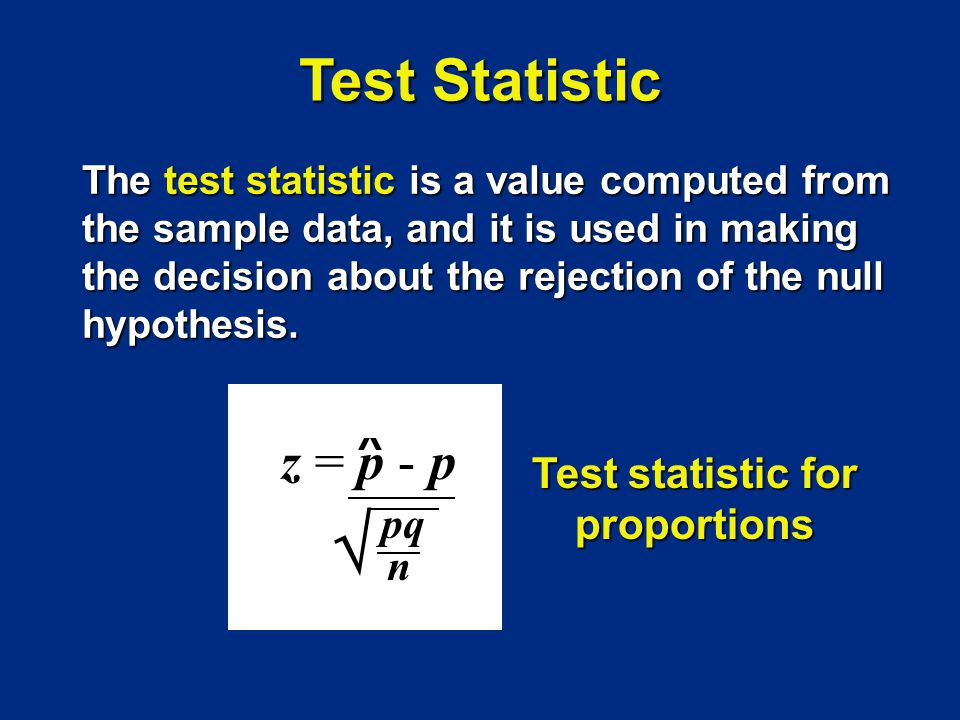Test statistic for proportions