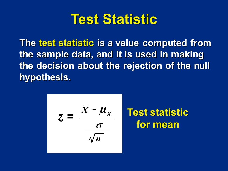 Test statistic for mean