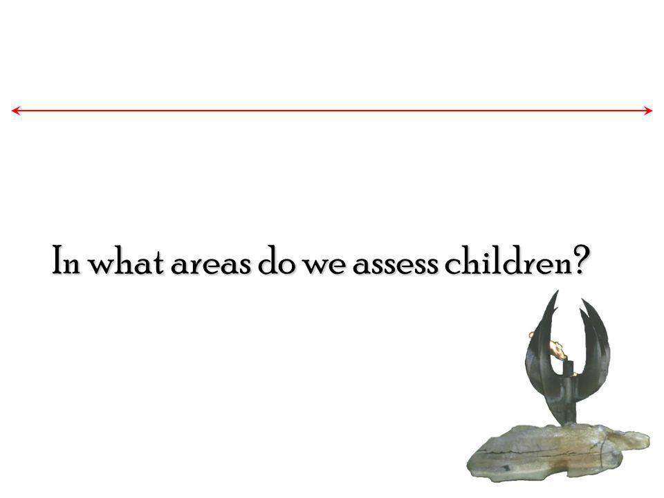 In what areas do we assess children