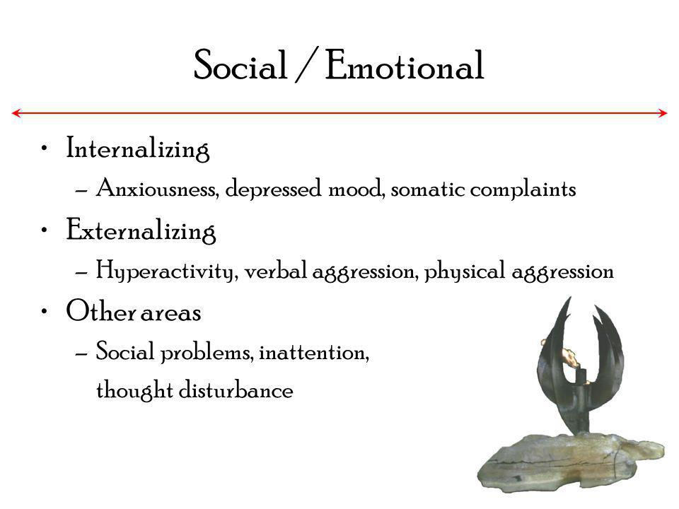 Social / Emotional Internalizing Externalizing Other areas