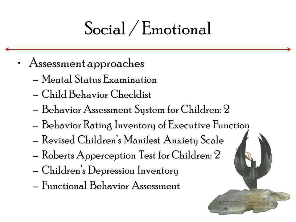 Social / Emotional Assessment approaches Mental Status Examination