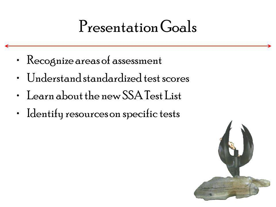 Presentation Goals Recognize areas of assessment