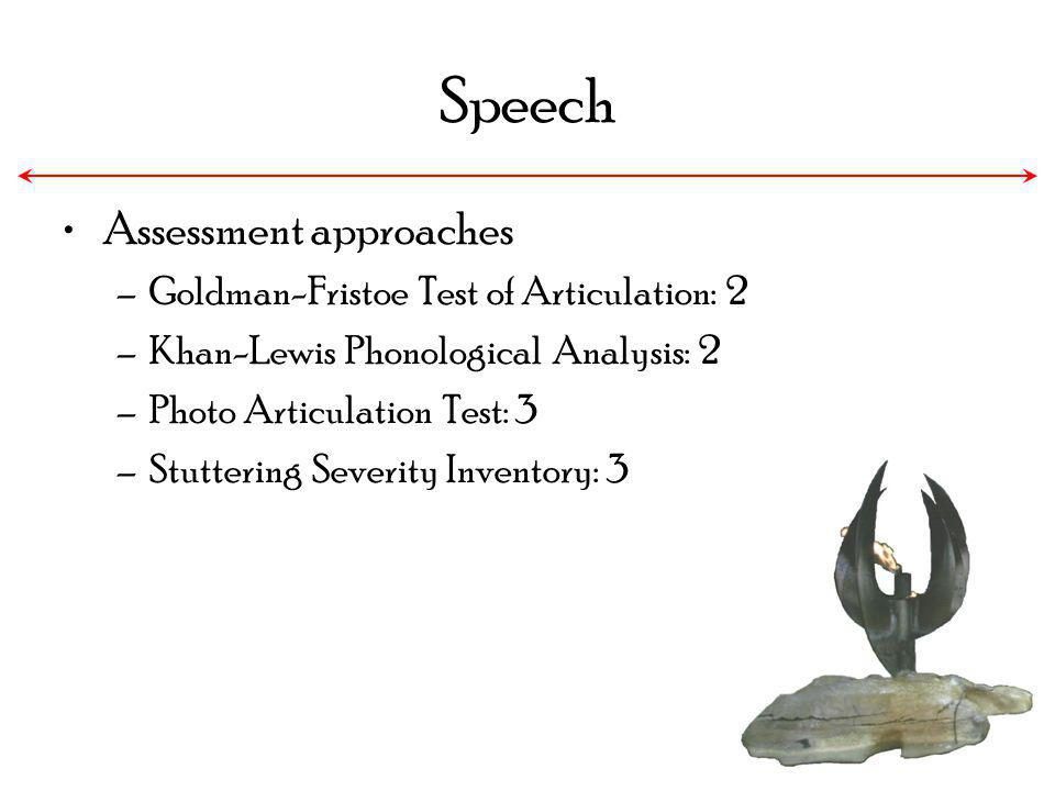 Speech Assessment approaches Goldman-Fristoe Test of Articulation: 2