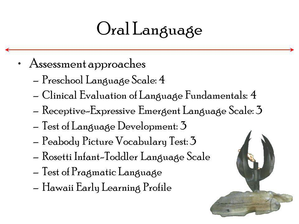 Oral Language Assessment approaches Preschool Language Scale: 4