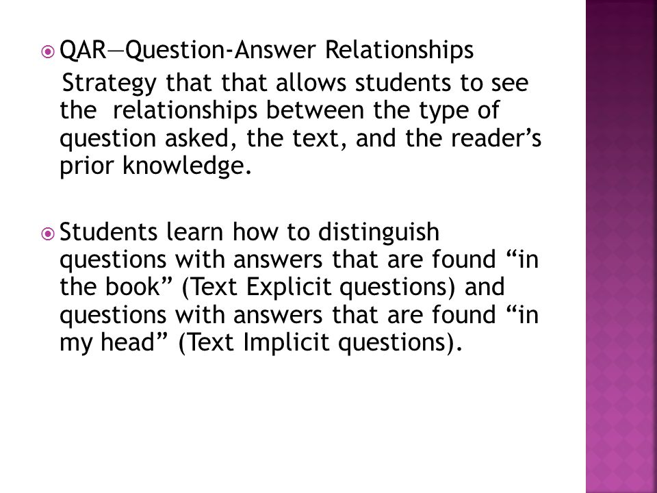 QAR—Question-Answer Relationships