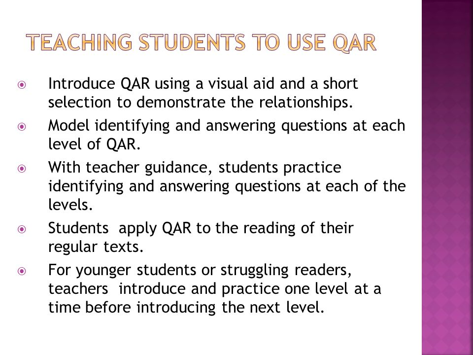 Teaching Students to Use QAR