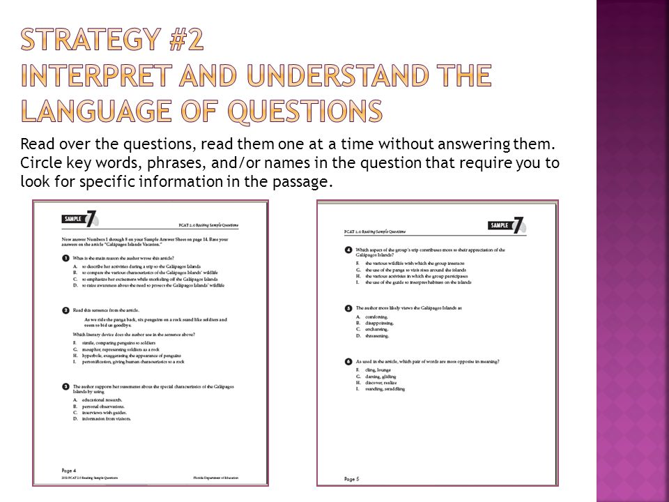 Strategy #2 Interpret and understand the language of questions