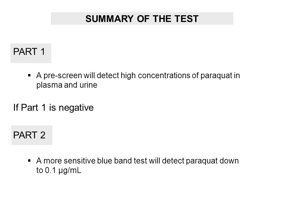 SUMMARY OF THE TEST PART 1 If Part 1 is negative PART 2