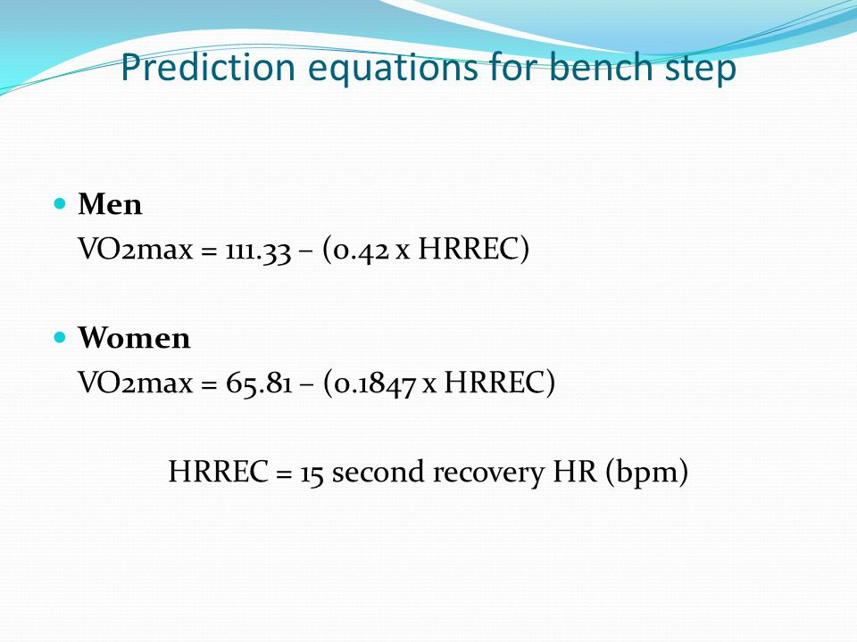 Prediction equations for bench step