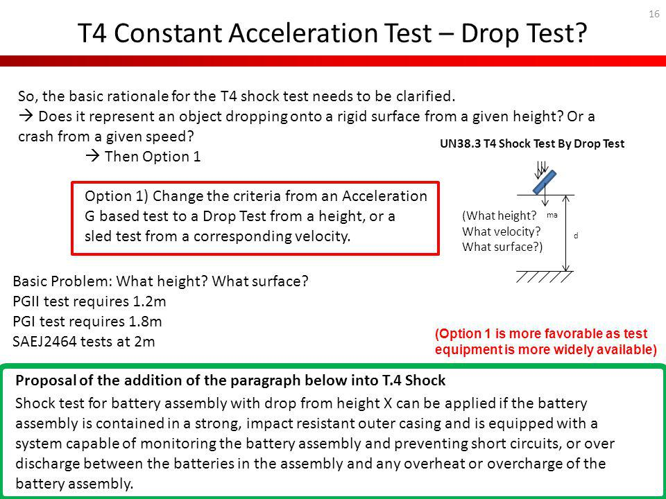 T4 Constant Acceleration Test – Drop Test