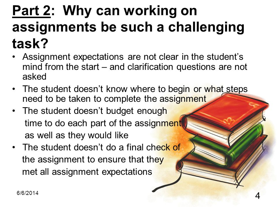 Part 2: Why can working on assignments be such a challenging task