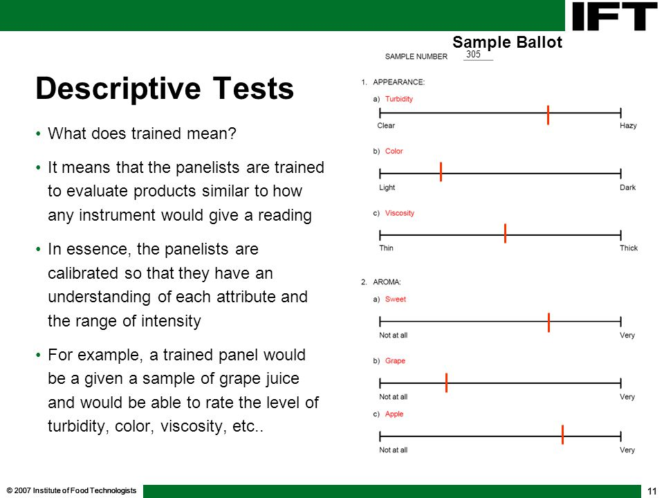 Descriptive Tests Sample Ballot What does trained mean