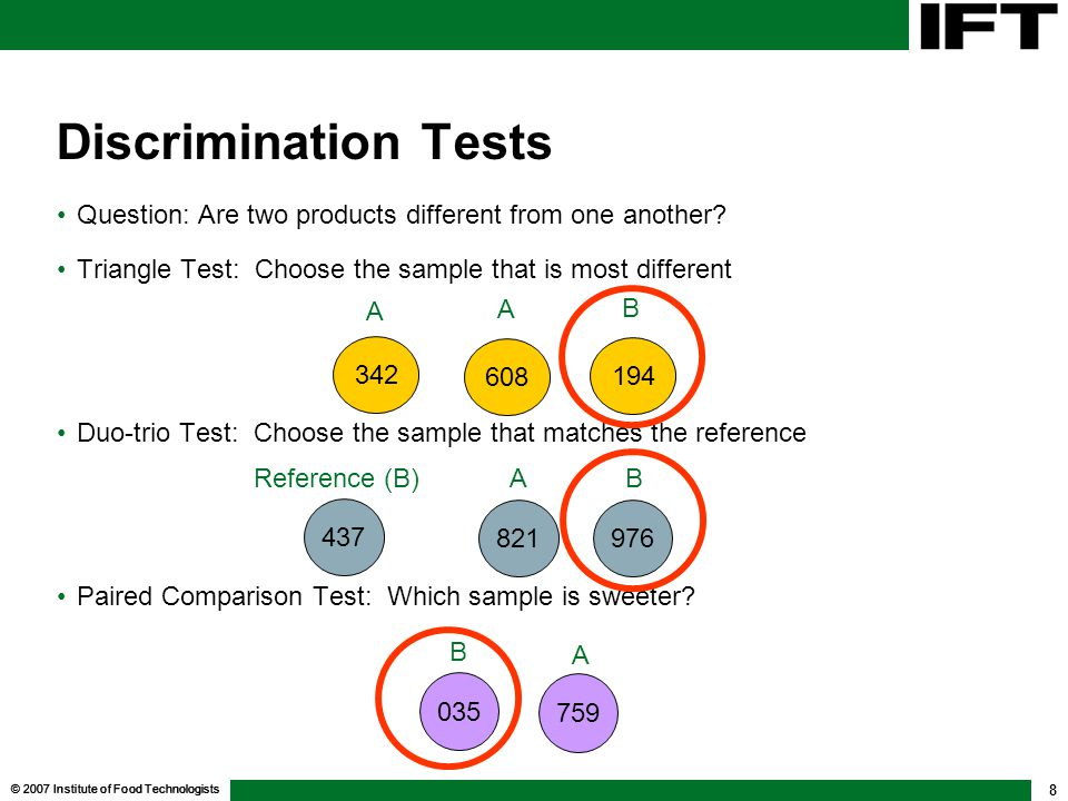 Discrimination Tests Question: Are two products different from one another Triangle Test: Choose the sample that is most different.