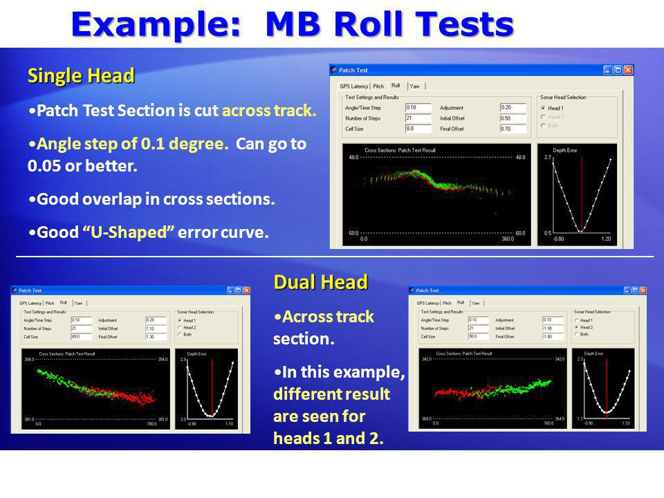 Example: MB Roll Tests Single Head Dual Head