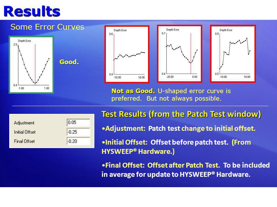 Results Test Results (from the Patch Test window) Some Error Curves
