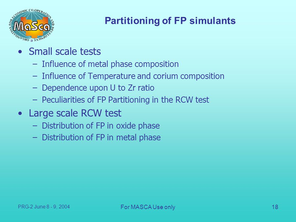 Partitioning of FP simulants