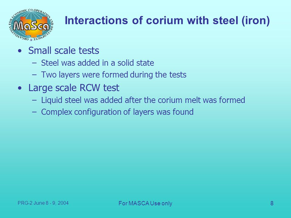 Interactions of corium with steel (iron)