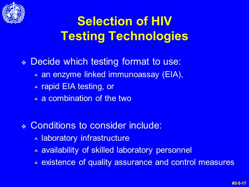 Selection of HIV Testing Technologies