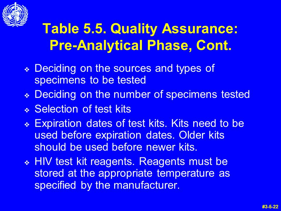 Table 5.5. Quality Assurance: Pre-Analytical Phase, Cont.