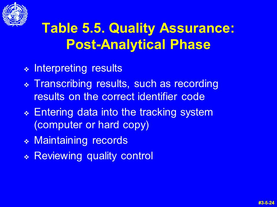 Table 5.5. Quality Assurance: Post-Analytical Phase