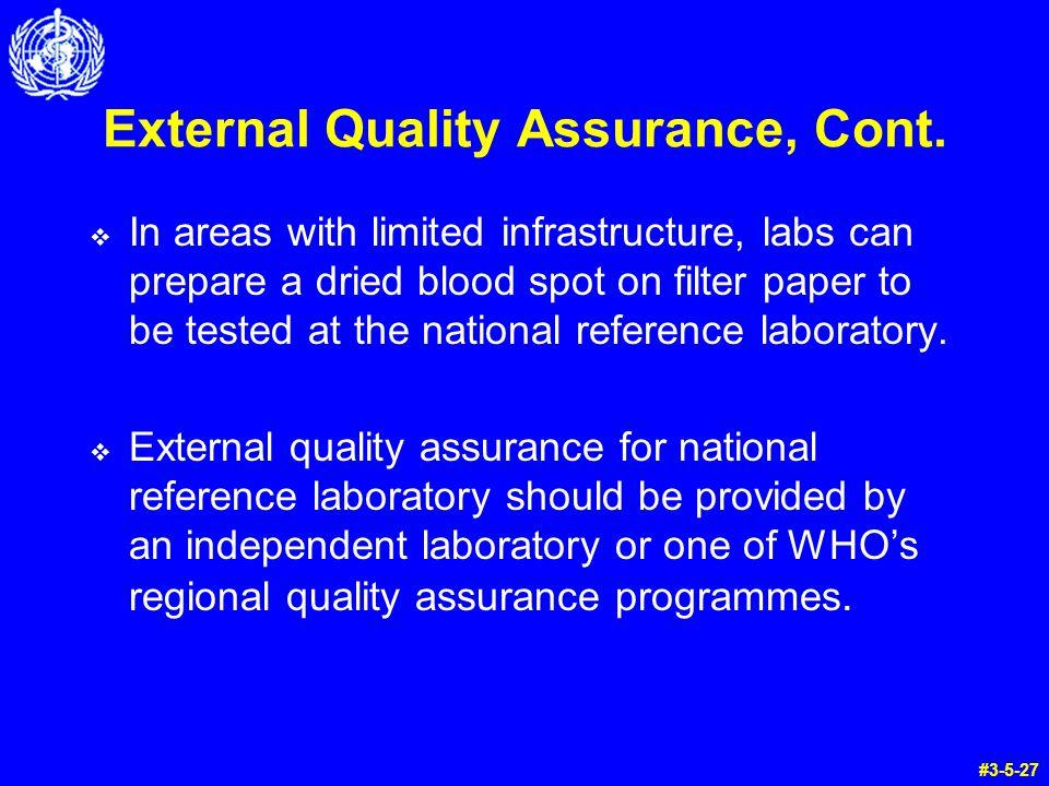 External Quality Assurance, Cont.