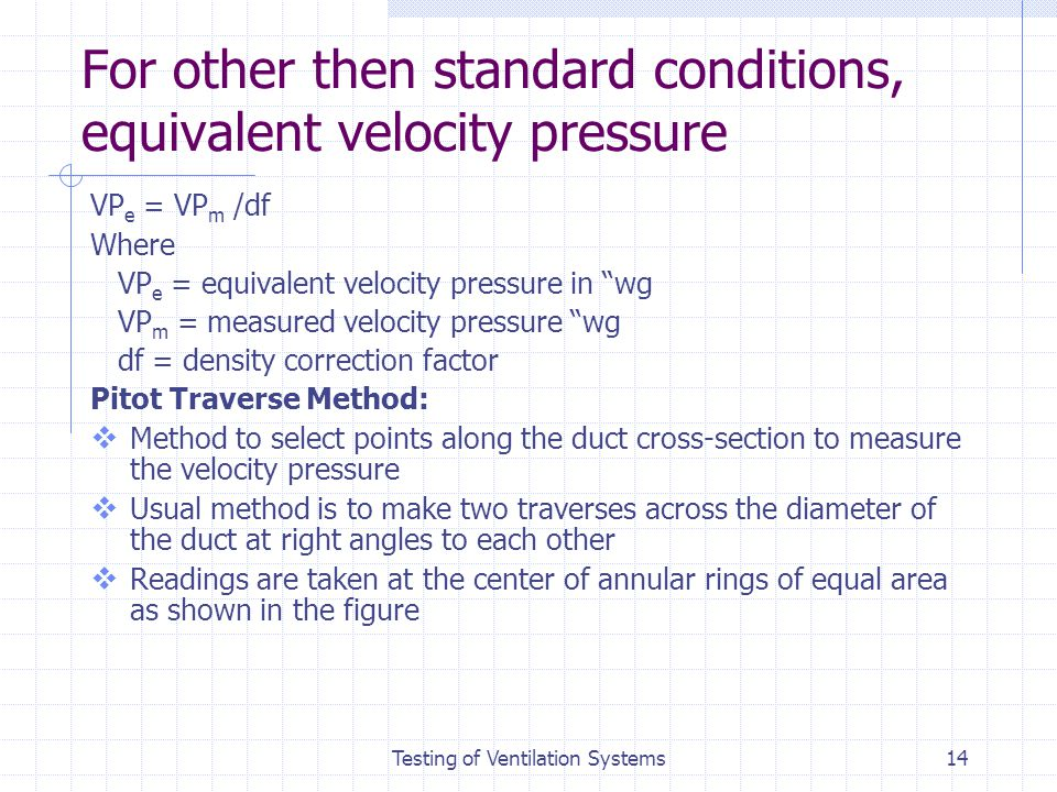 For other then standard conditions, equivalent velocity pressure