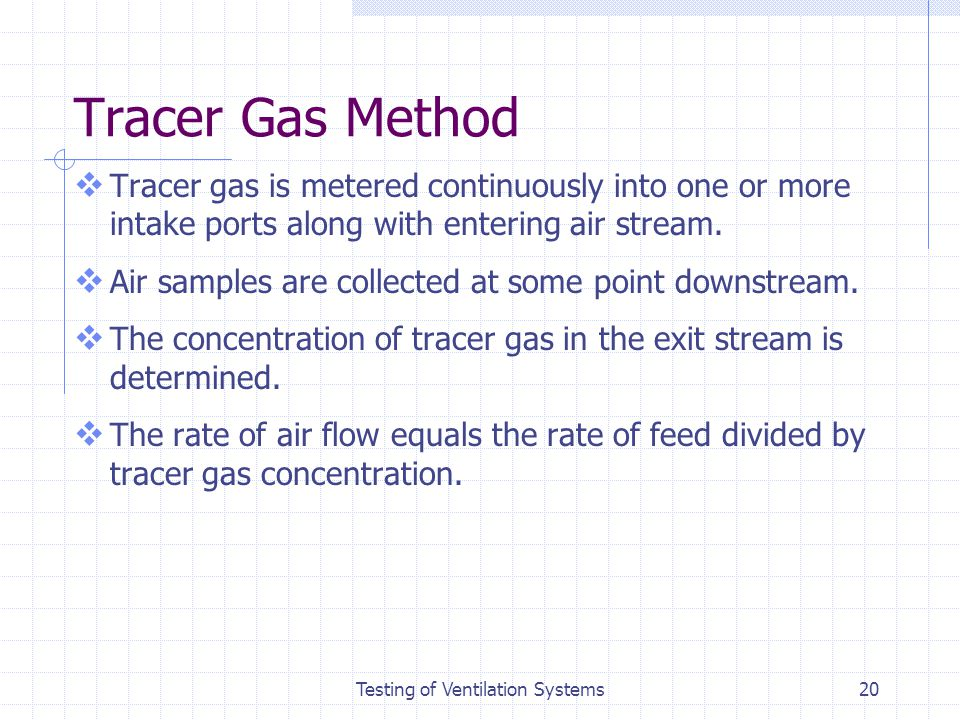 Testing of Ventilation Systems
