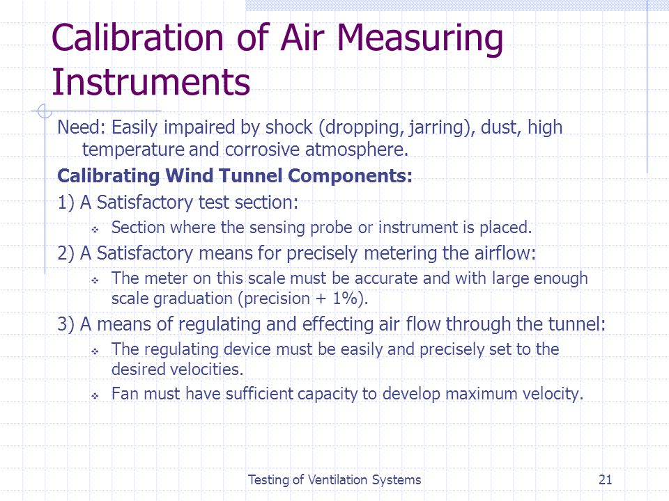 Calibration of Air Measuring Instruments
