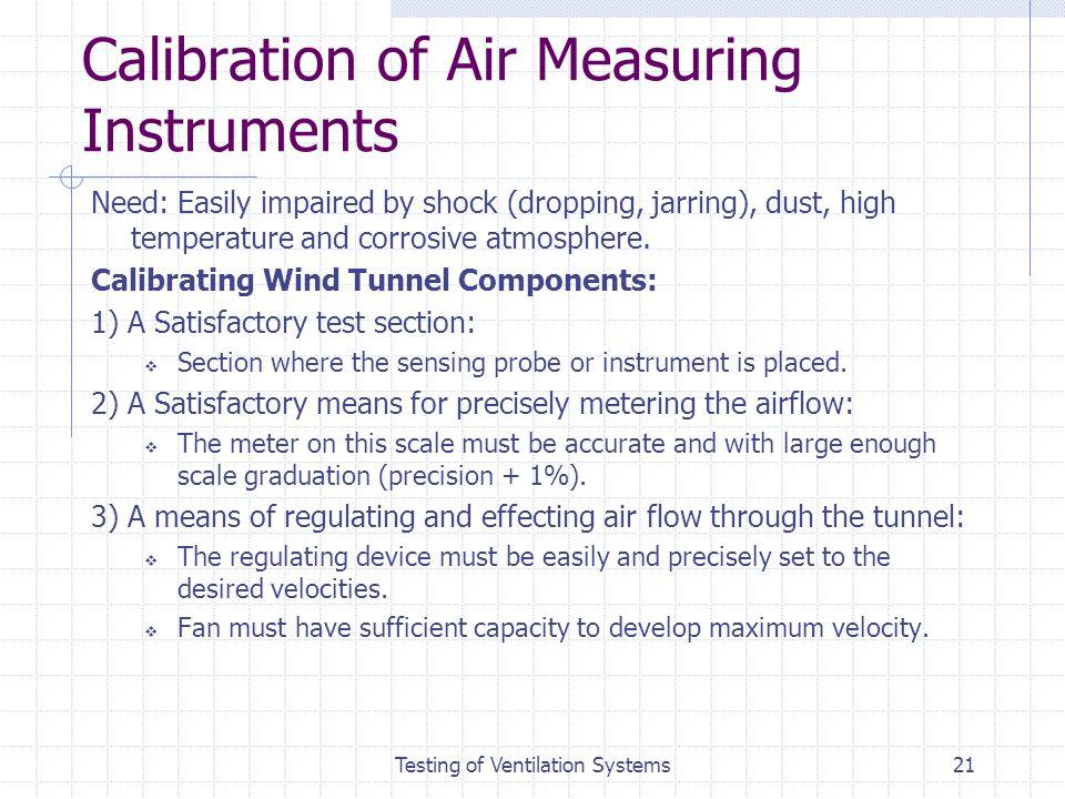 Calibration of Air Measuring Instruments