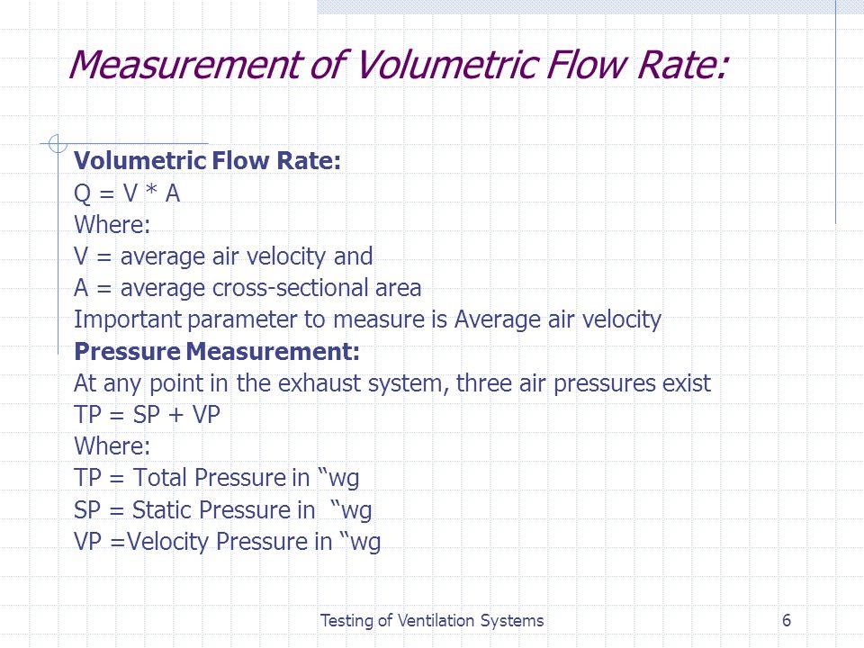 Measurement of Volumetric Flow Rate: