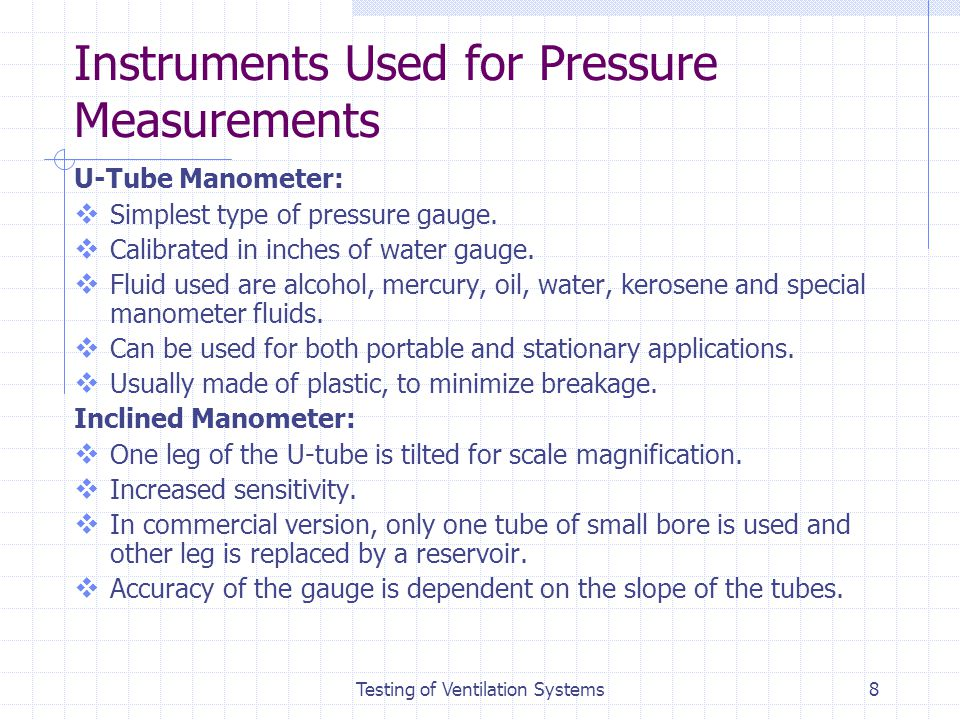 Instruments Used for Pressure Measurements