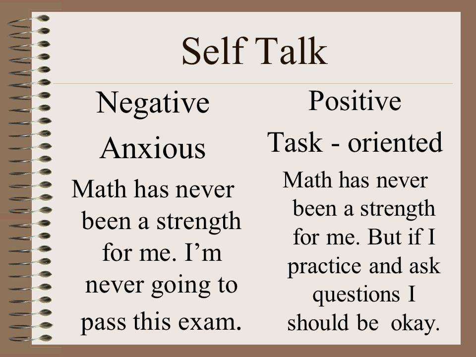 Self Talk Negative Anxious Positive Task - oriented