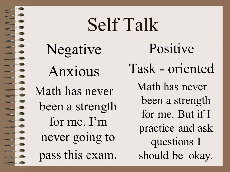 Self Talk Negative Anxious Positive Task - oriented