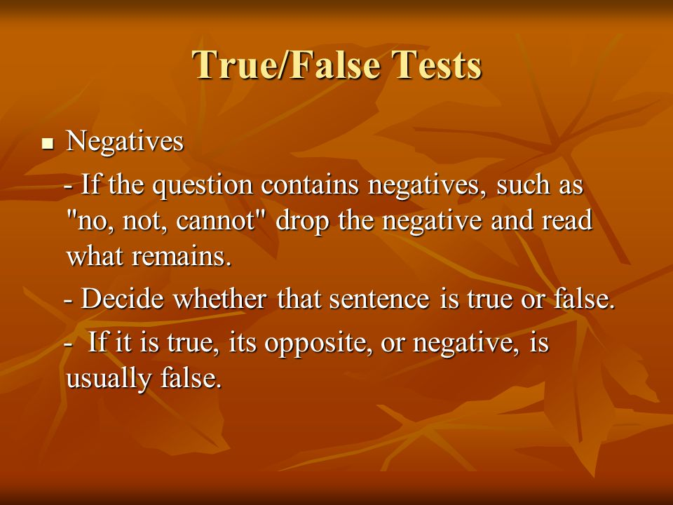 True/False Tests Negatives