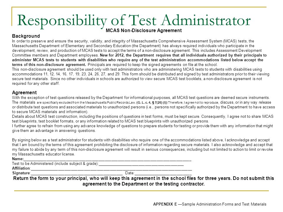 Responsibility of Test Administrator