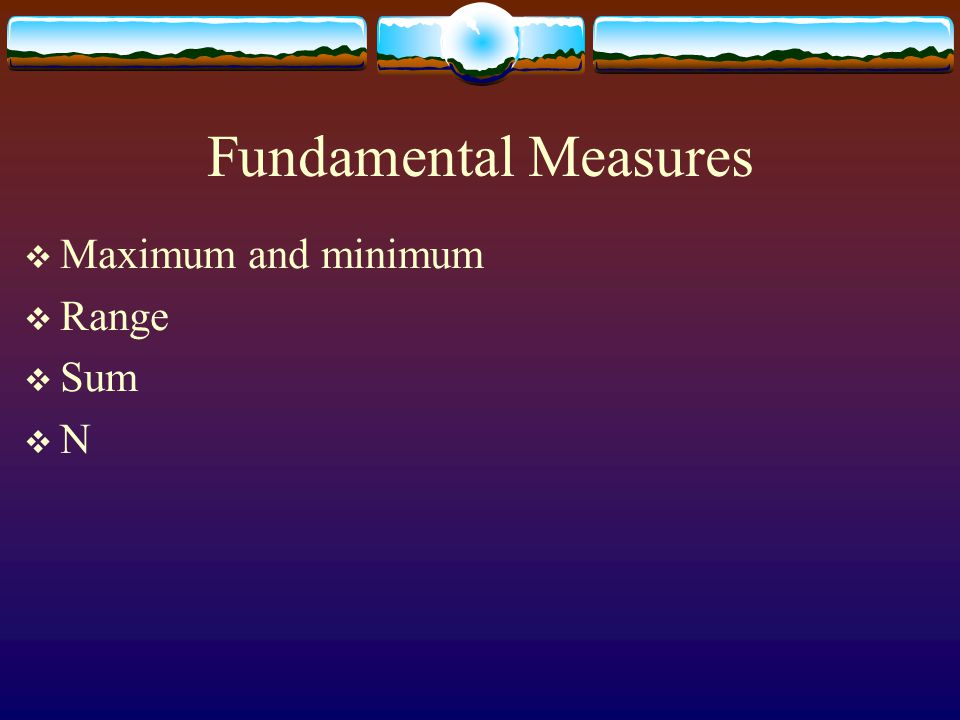 Fundamental Measures Maximum and minimum Range Sum N