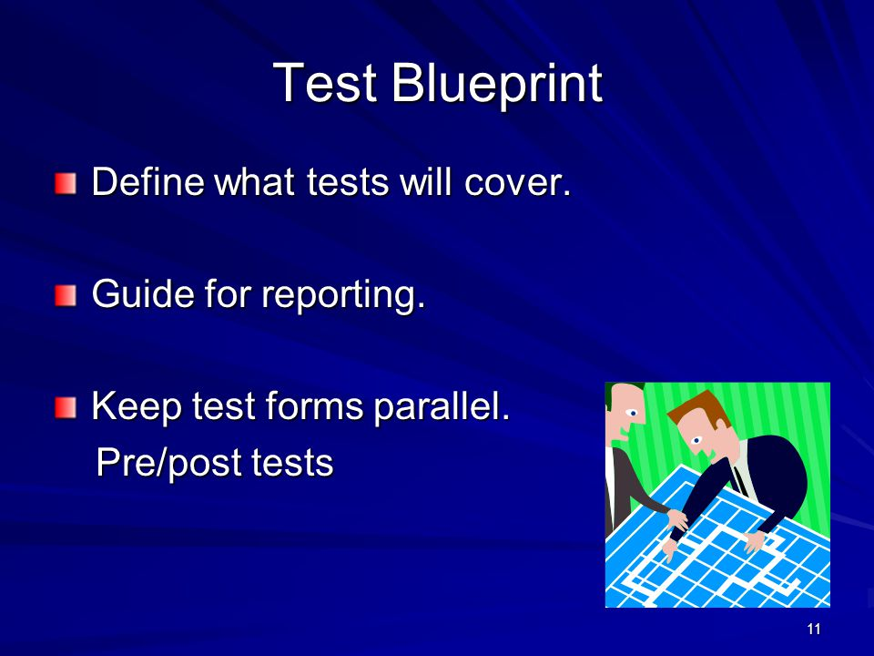 Test Blueprint Define what tests will cover. Guide for reporting.