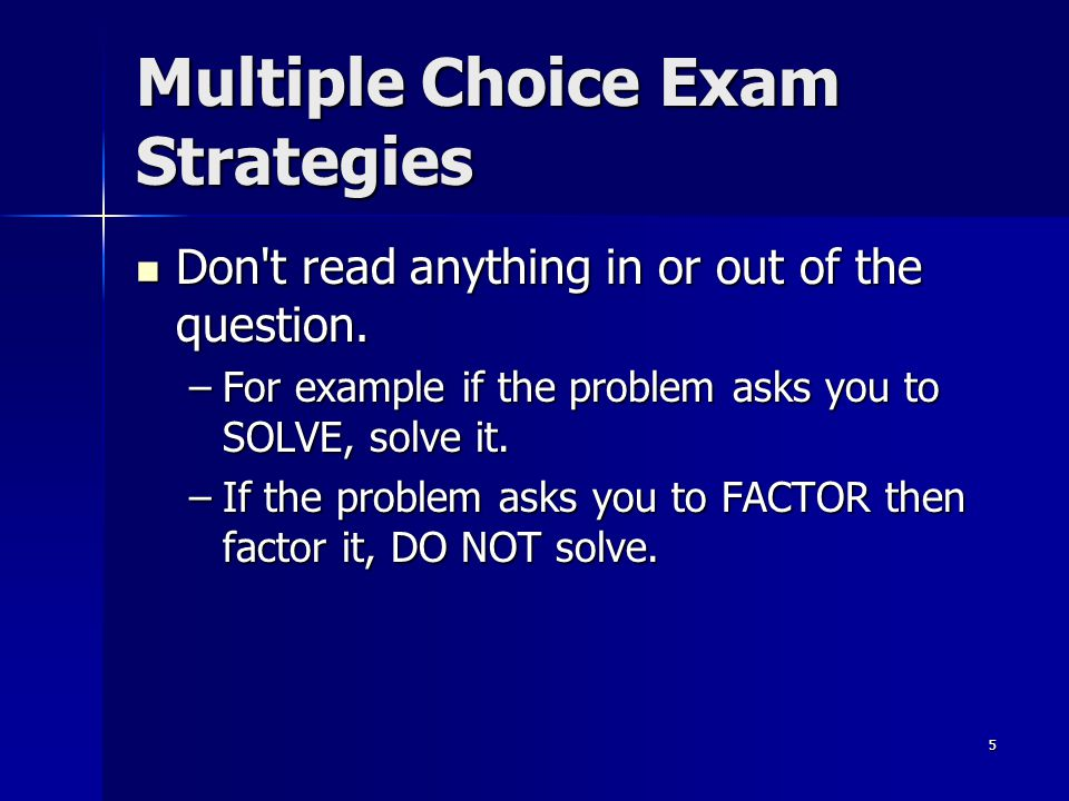 Multiple Choice Exam Strategies