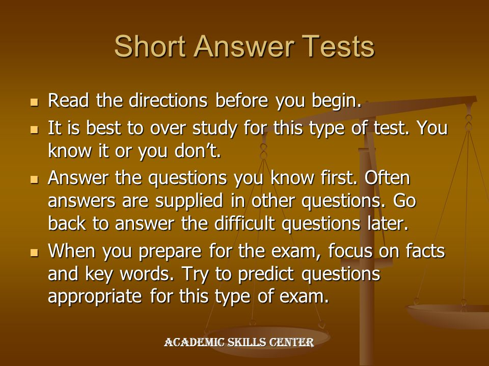 Short Answer Tests Read the directions before you begin.