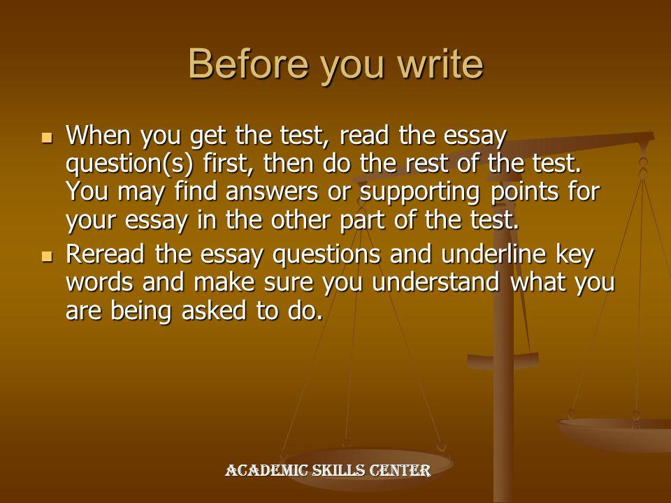 Before you write