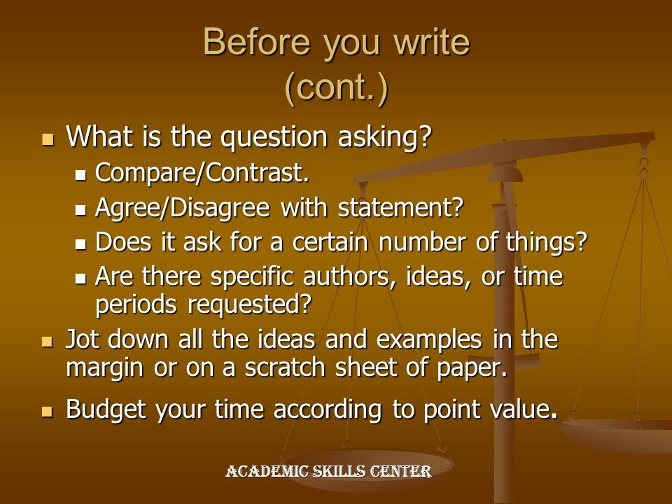 Before you write (cont.)