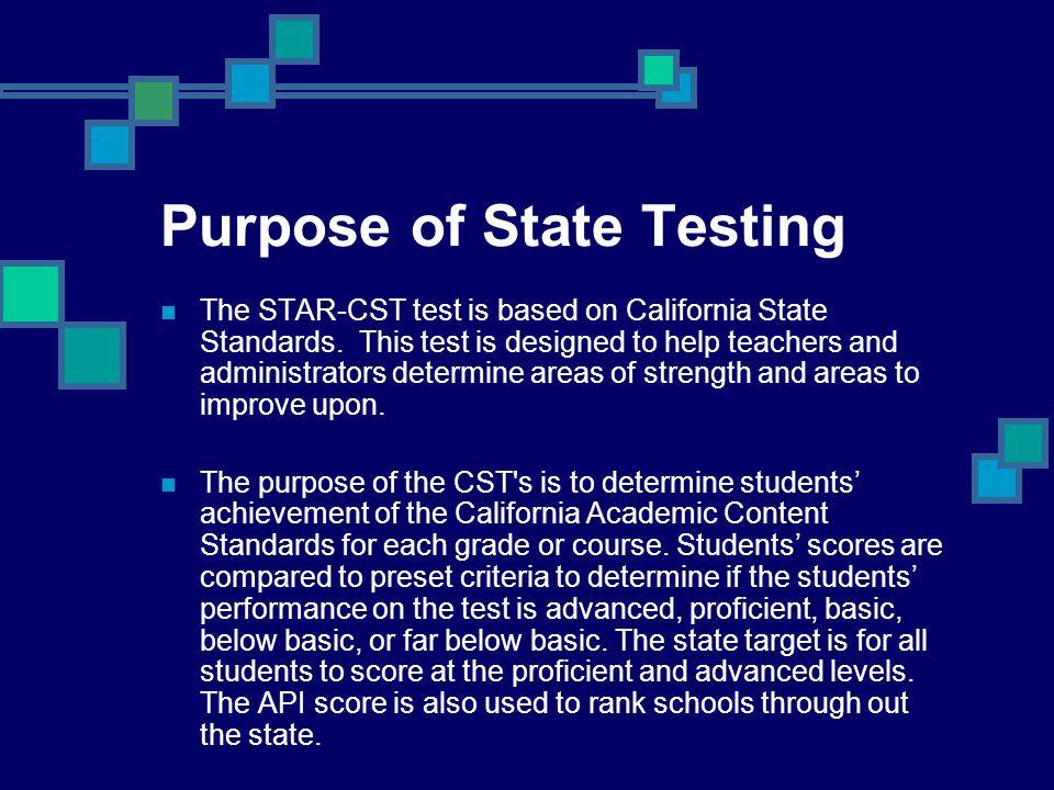 Purpose of State Testing