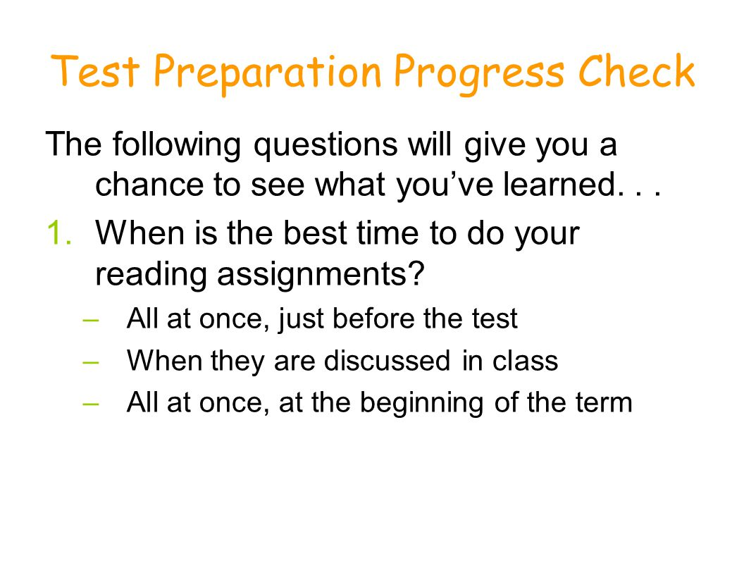 Test Preparation Progress Check