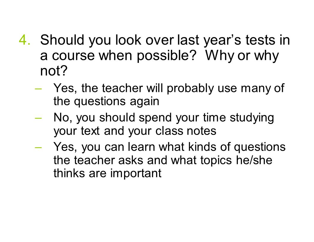 Should you look over last year's tests in a course when possible