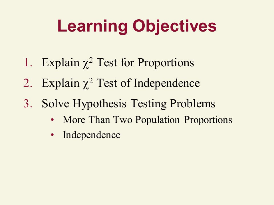 Learning Objectives Explain 2 Test for Proportions