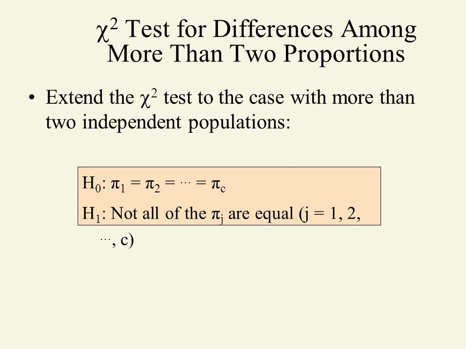 2 Test for Differences Among More Than Two Proportions
