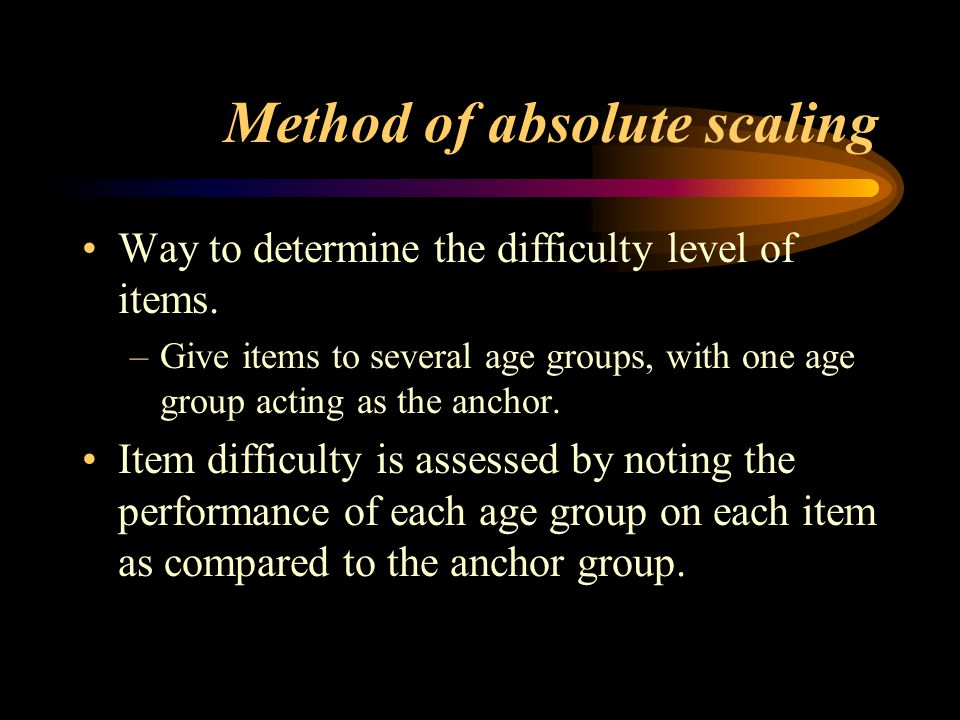 Method of absolute scaling