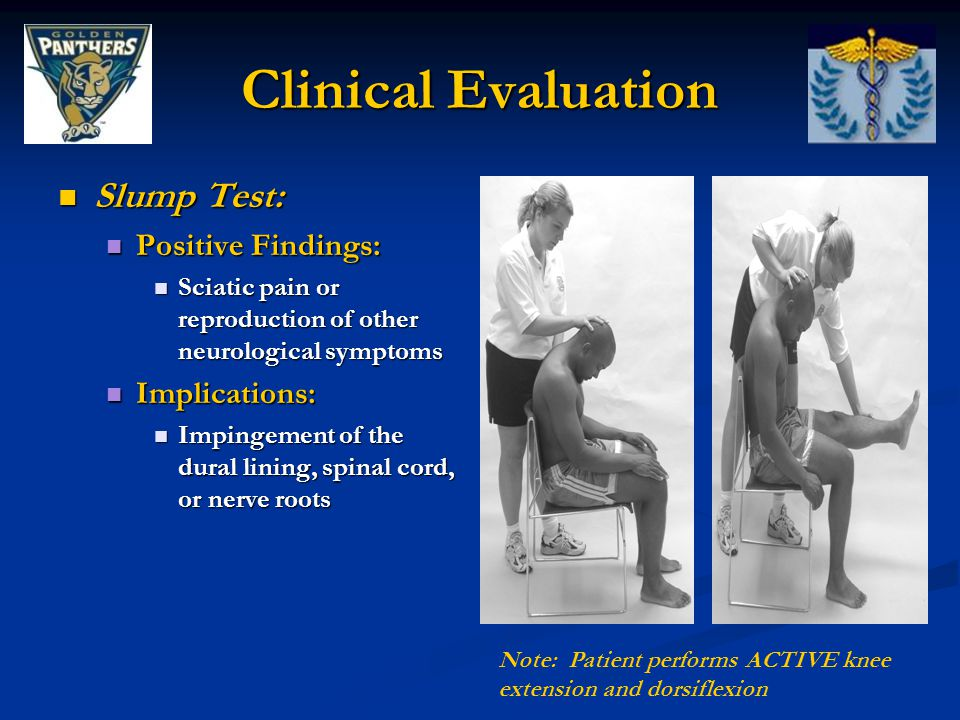 Clinical Evaluation Slump Test: Positive Findings: Implications: