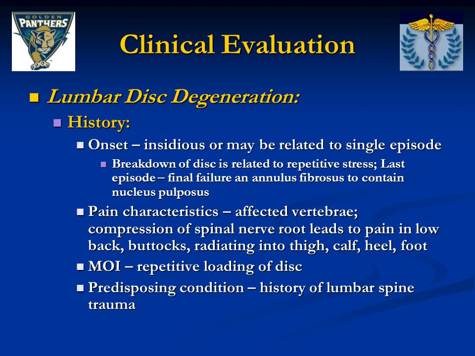 Clinical Evaluation Lumbar Disc Degeneration: History: