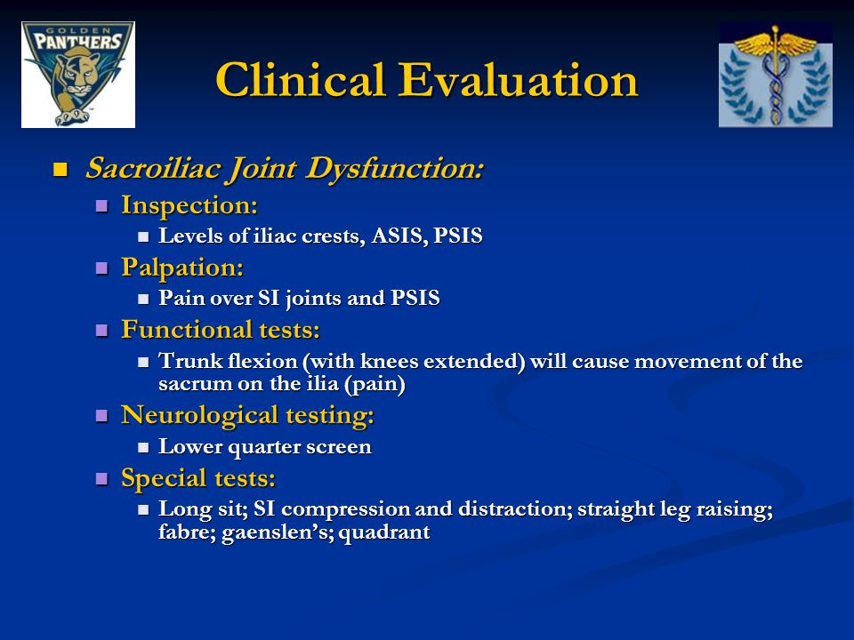Clinical Evaluation Sacroiliac Joint Dysfunction: Inspection: